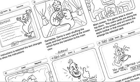 This storyboard is for Disney Japan's online game Aladdin produced by British digital marketing agency, KERB.